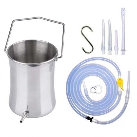 Stainless Steel Enema Bucket Kit for Home Enema- 2 Liter