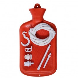 Enema Bag Kit 2 Quart Red Hot Water Bottle Colon Cleansing Kit